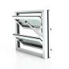 Lamellenfenster mit thermischer Trennung, Verkehrsweiß, Klarglas und Handhebel rechts