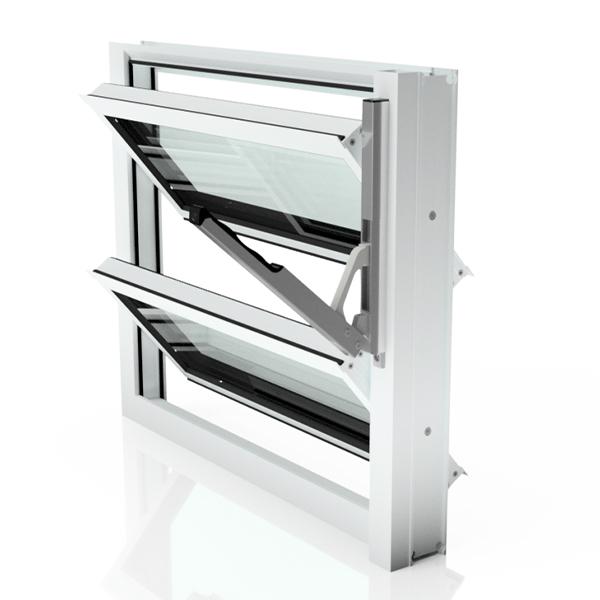 Lamellenfenster ohne thermische Trennung in Verkehrsweiß, Klarglas und Handhebel rechts
