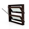 Lamellenfenster mit thermischer Trennung, Nussbraun, Klarglas und Handhebel links