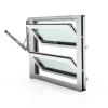 Lamellenfenster mit thermischer Trennung, Verkehrsweiß, Klarglas und Handhebel links