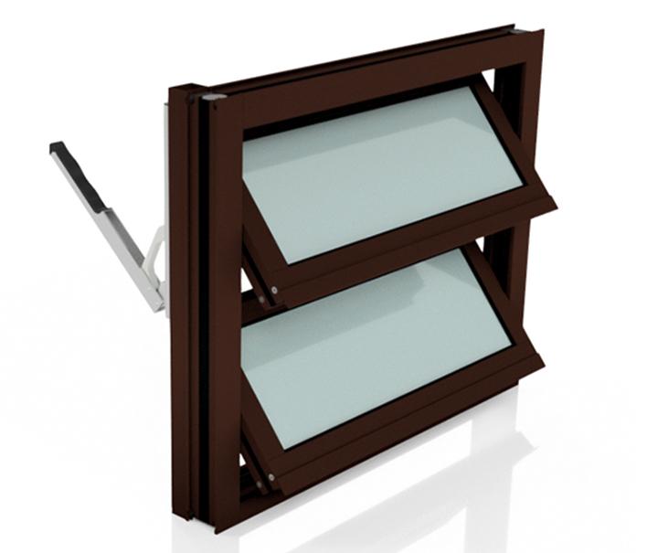 Lamellenfenster mit thermischer Trennung in Nussbraun und mit Handhebel