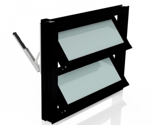 Lamellenfenster ohne thermischer Trennung_Milchglas_schwarz 1