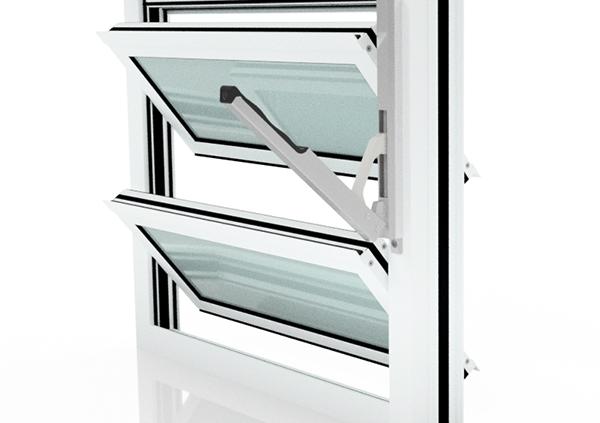 Lamellenfenster Verkehrsweiß (Milchglas) mit Handhebel rechts